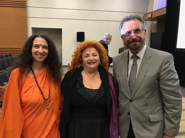 Lili Fournier, Sadhvi Bhagawati Saraswatiji, and Rabbi David Rosen